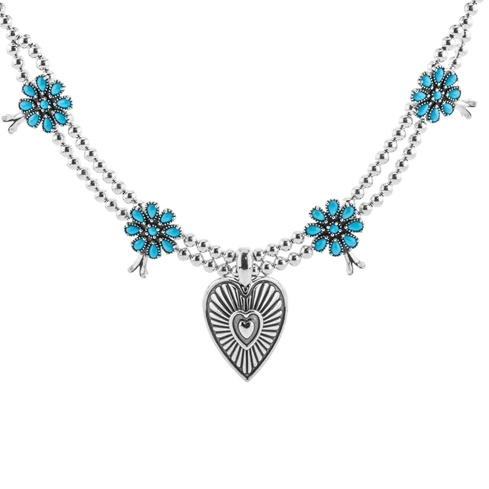 American West Sleeping Beauty Turquoise Necklace With Heart Pendant