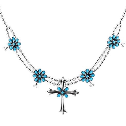 Sleeping Beauty Turquoise Necklace With Turquoise Cross Pendant