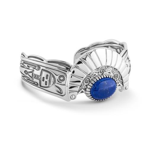 Sterling Silver Blue Lapis Gemstone Fritz Casuse Designed Cuff Bracelet Size Medium
