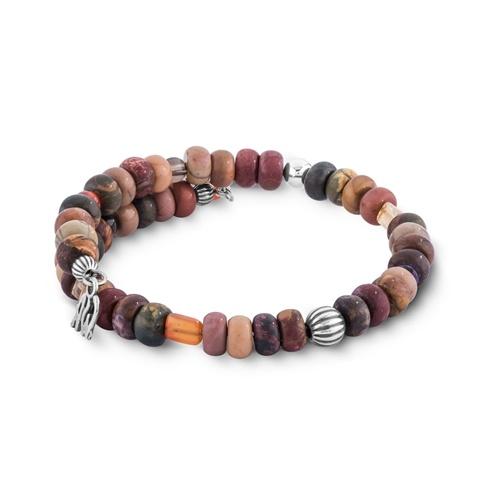 Shades of Brown Gemstones Beaded Coil Bracelet