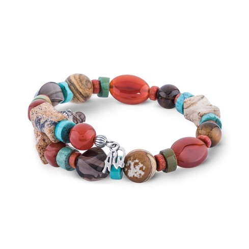 Multi Gemstone Beaded Coil Bracelet