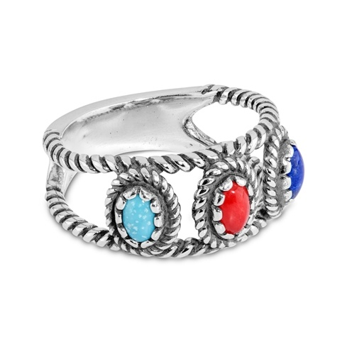 Sterling Silver Blue Turquoise, Coral, and Lapis 3-Stone Ring Size 5 to 10