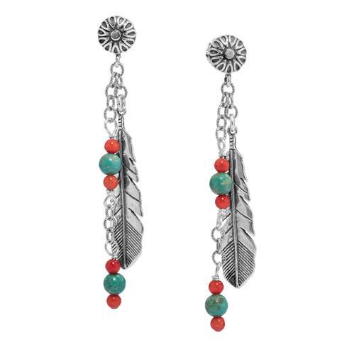 Sterling Silver Multi Gemstone Feather Dangle Earrings