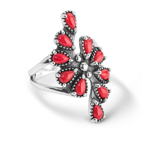 Sterling Silver and Red Coral Cluster Ring