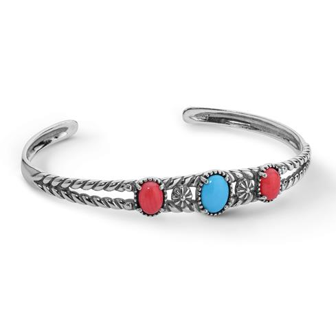 Sterling Silver Sleeping Beauty Turquoise & Pink Sea Bamboo Cuff Bracelet Size S, M or L