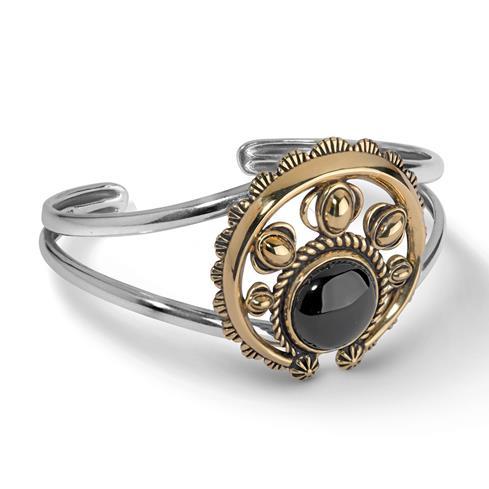Sterling Silver, Brass, & Black Agate Naja Cuff Bracelet