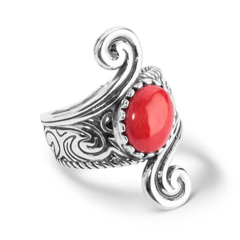 Sterling Silver Red Coral Ring
