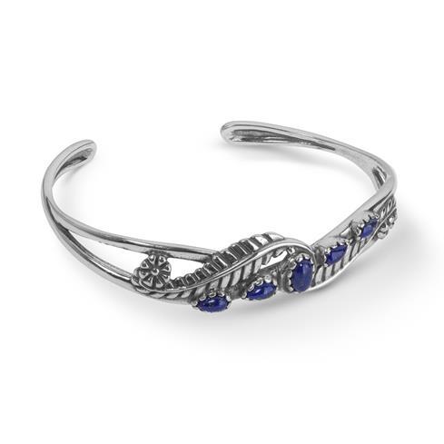 Sterling Silver & Lapis Five Stone Leaf Design Cuff Bracelet
