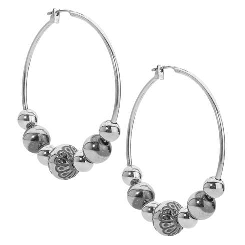 Sterling Silver Native Pearl Bead Hoop Earrings