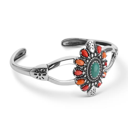 Sterling Silver Green Turquoise, Red & Orange Spiny Oyster Cluster Cuff Bracelet Size S, M or L