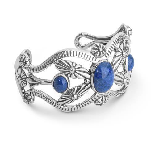 Sterling Silver & Denim Lapis Squash Blossom Cuff Bracelet