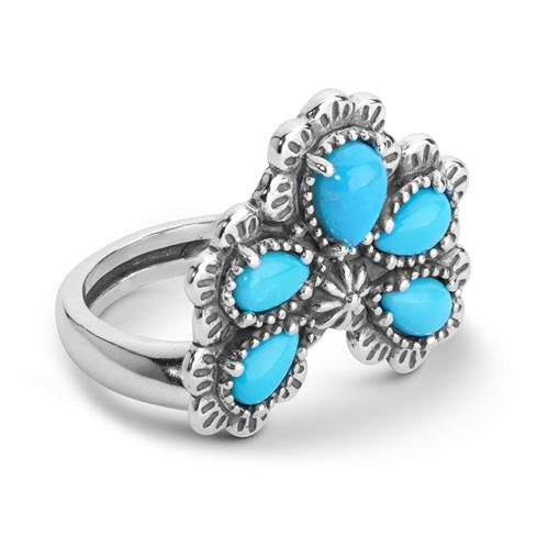 Sterling Silver Sleeping Beauty Turquoise Gemstone 5-Stone Naja Style Ring Size 5 to 10