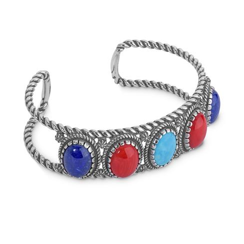 American West Sterling Silver Blue Lapis M or L Red Coral and Turquoise Gemstone Mini Rope Cuff Size S