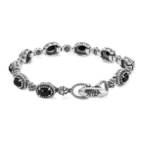 Sterling Silver & Black Agate Oval Station Link Bracelet