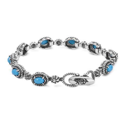 Sterling Silver & Turquoise Oval Station Link Bracelet