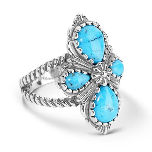 Sterling Silver Blue and Black Spider Web Turquoise 4-Stone Cross Ring Size 5 to 10