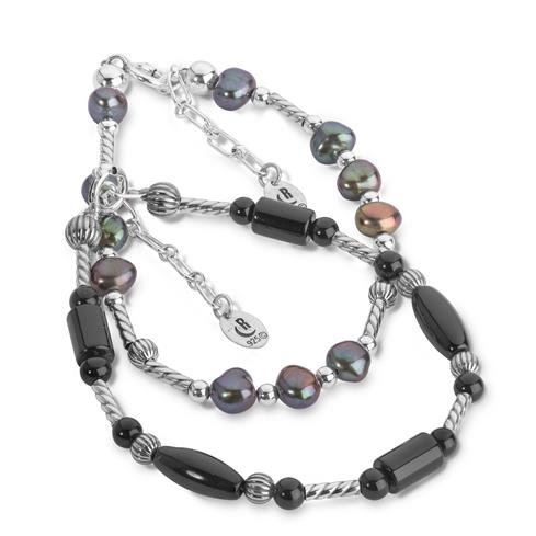 Sterling Silver & Multi Gemstone Beaded Bracelet Set