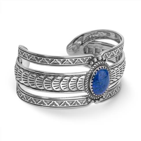 Sterling Silver & Denim Lapis Bold Cuff Bracelet