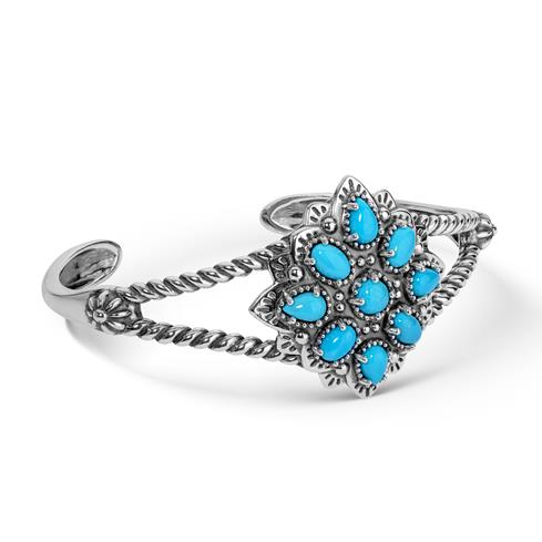 American West Sterling Silver and Turquoise Floral Cluster Cuff Bracelet
