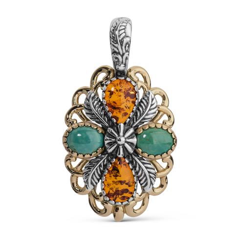 Sterling Silver, Amber, & Turquoise Pendant Enhancer