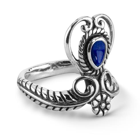 Sterling Silver & Blue Lapis Heart Ring Size 5 to 10