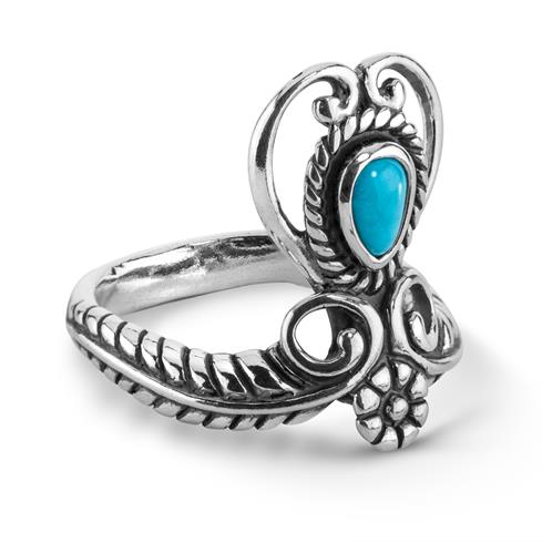 Sterling Silver Blue Turquoise Heart Ring Size 5 to 10