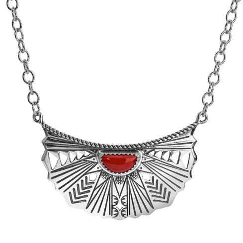 Red Coral Sunray Necklace