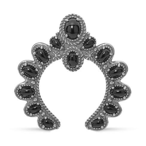 Sterling Silver & Black Agate Small Naja Enhancer Pendant