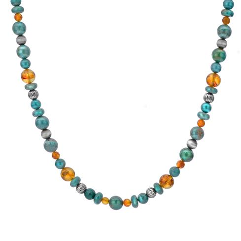 Sterling Silver, Green Turquoise, & Amber 17 Inch Necklace