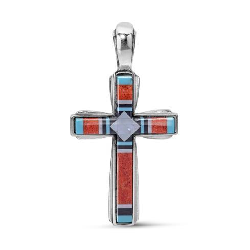 Sterling Silver & Multi Gemstone Channel Inlay Cross Pendant Enhancer
