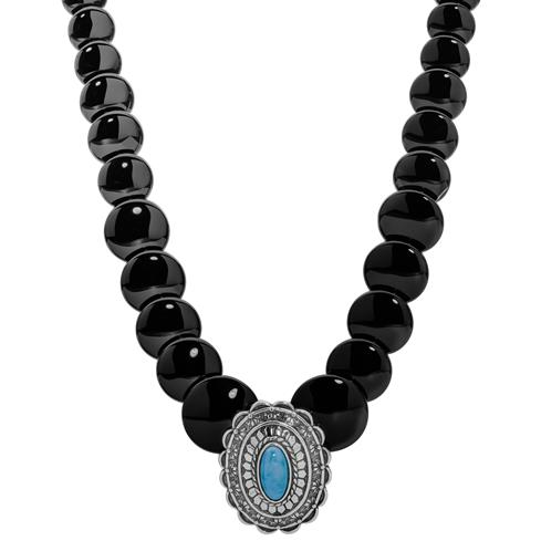 Sterling Silver, Black Agate Disc and Turquoise Concha 17 Inch Necklace