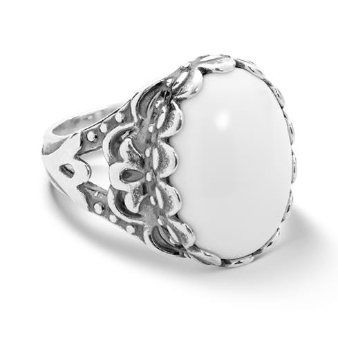 Sterling Silver White Agate Gemstone Oval Ring Size 5 to 10