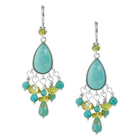 Sterling Silver Kingman Turquoise and Peridot Chandelier Earrings