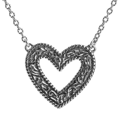 Sterling_Silver_Diamond_Cut_Heart_Necklace