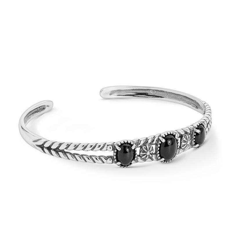 Sterling Silver Black Agate 3-Stone Cuff Bracelet Size S, M or L