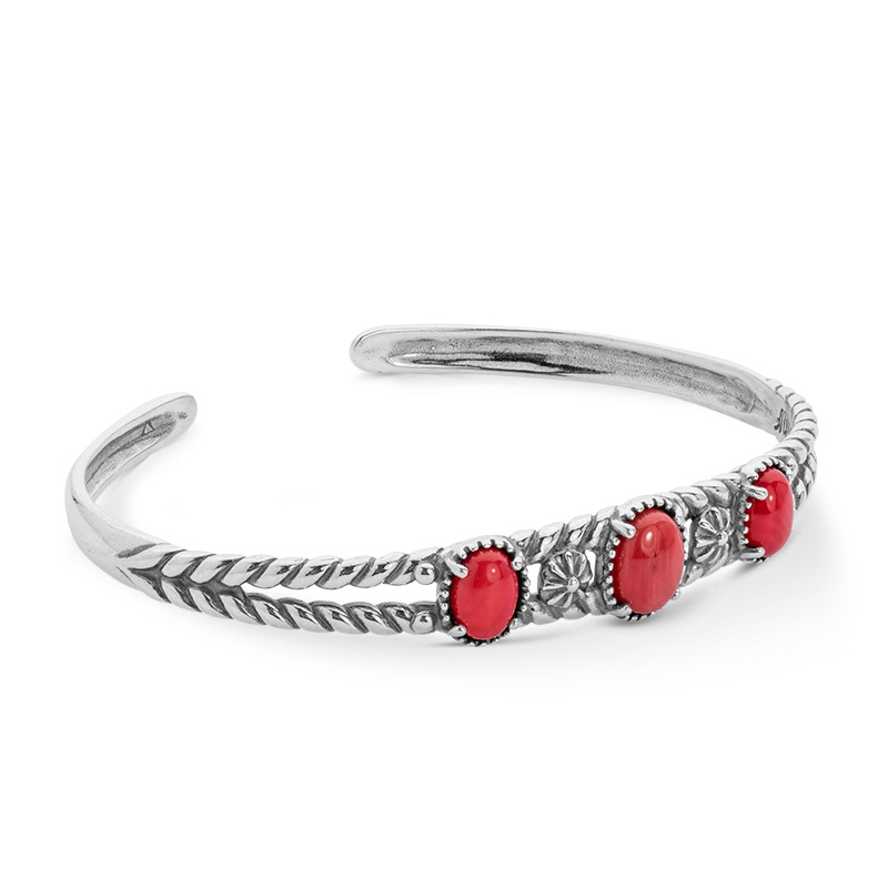 Classics Sterling Silver Red Coral Three Stone Cuff Bracelet