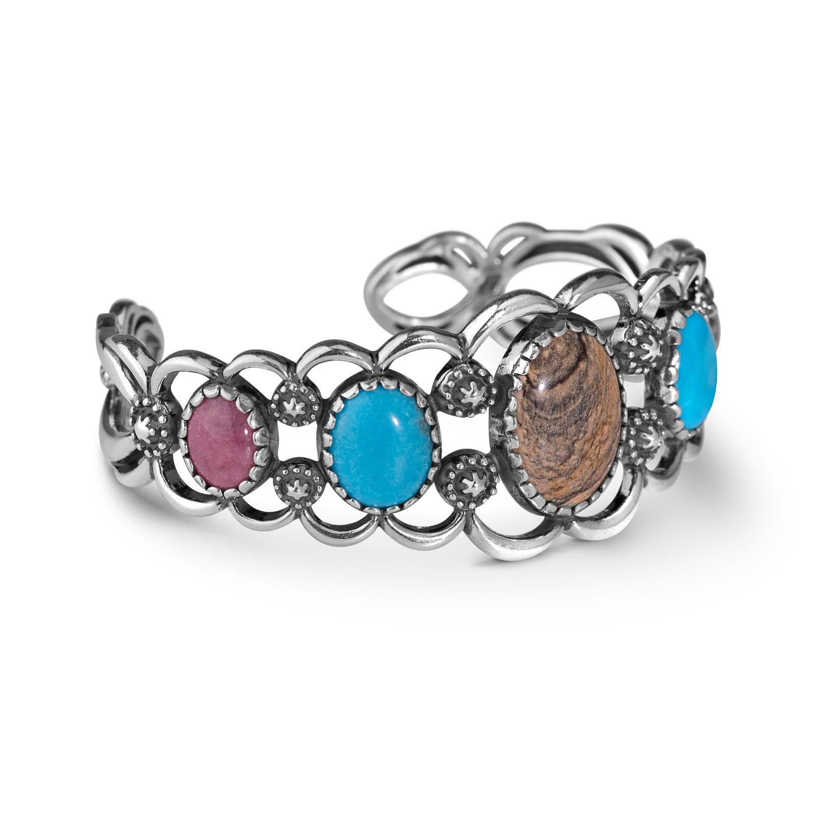American West Multi Gemstone Sterling Cuff Bracelet