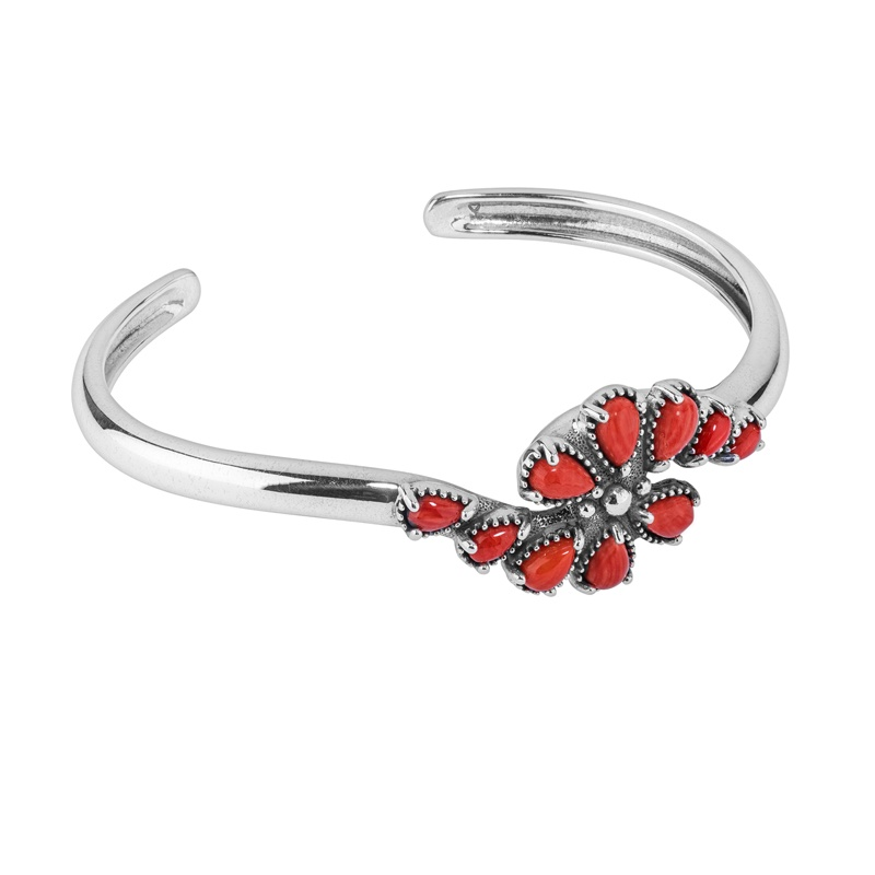 Sterling Silver Red Coral Gemstone Cluster Cuff Bracelet Size S, M or L