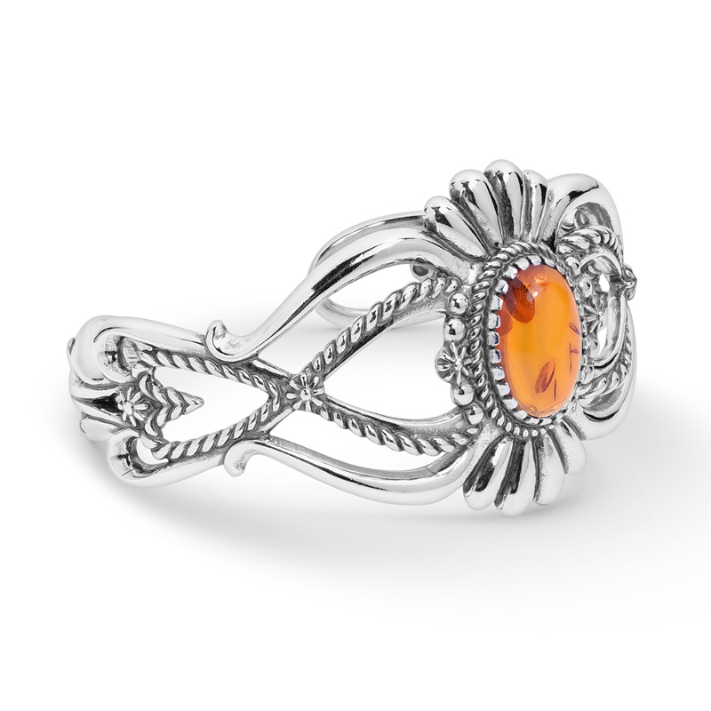 Earth Spirit Sterling Silver Amber Cuff (Size: Average)