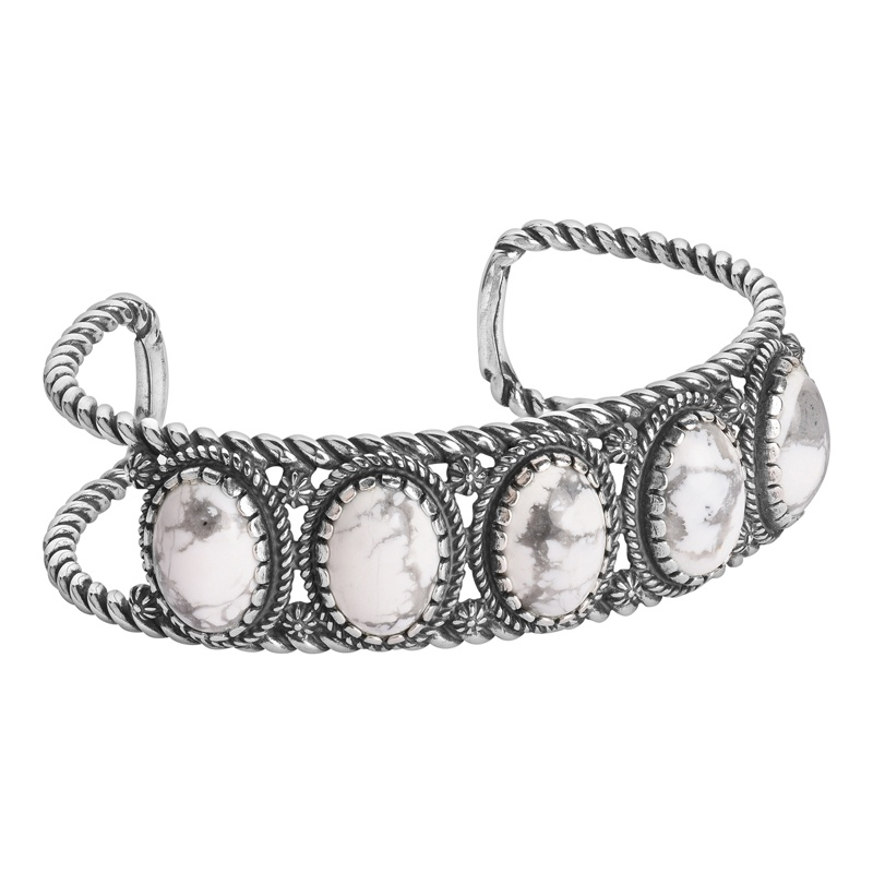 Sterling Silver White Howlite Gemstone 5-Stone Cuff Size S, M or L