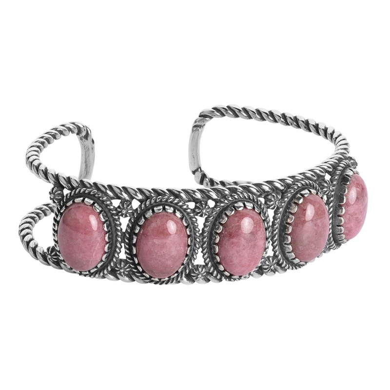 Sterling Silver Pink Rhodonite Gemstone 5-Stone Cuff Size S, M or L