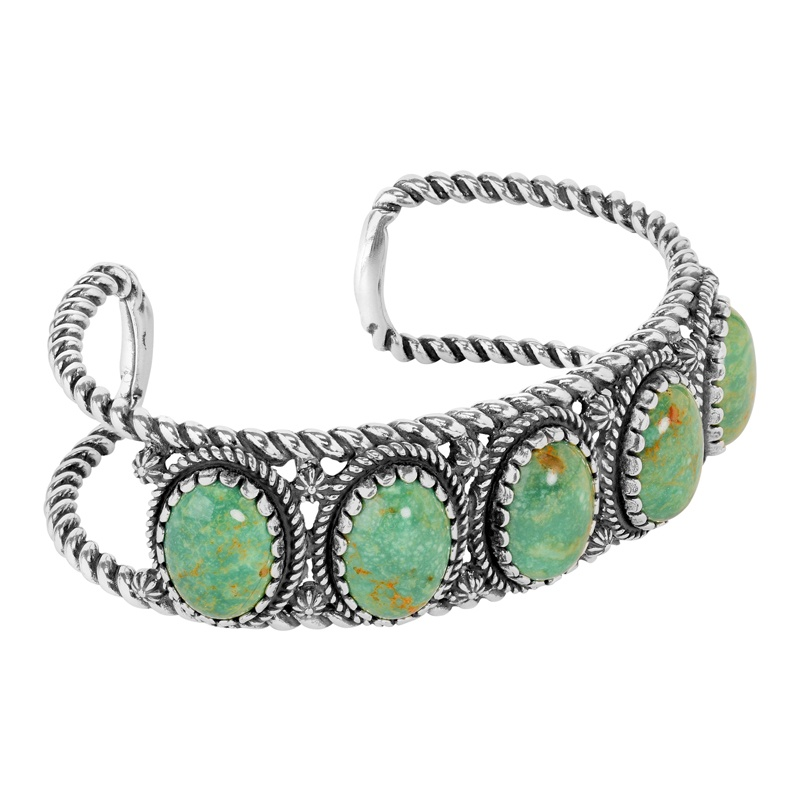 Sterling Silver Green Turquoise Gemstone 5-Stone Cuff Bracelet Size S, M or L