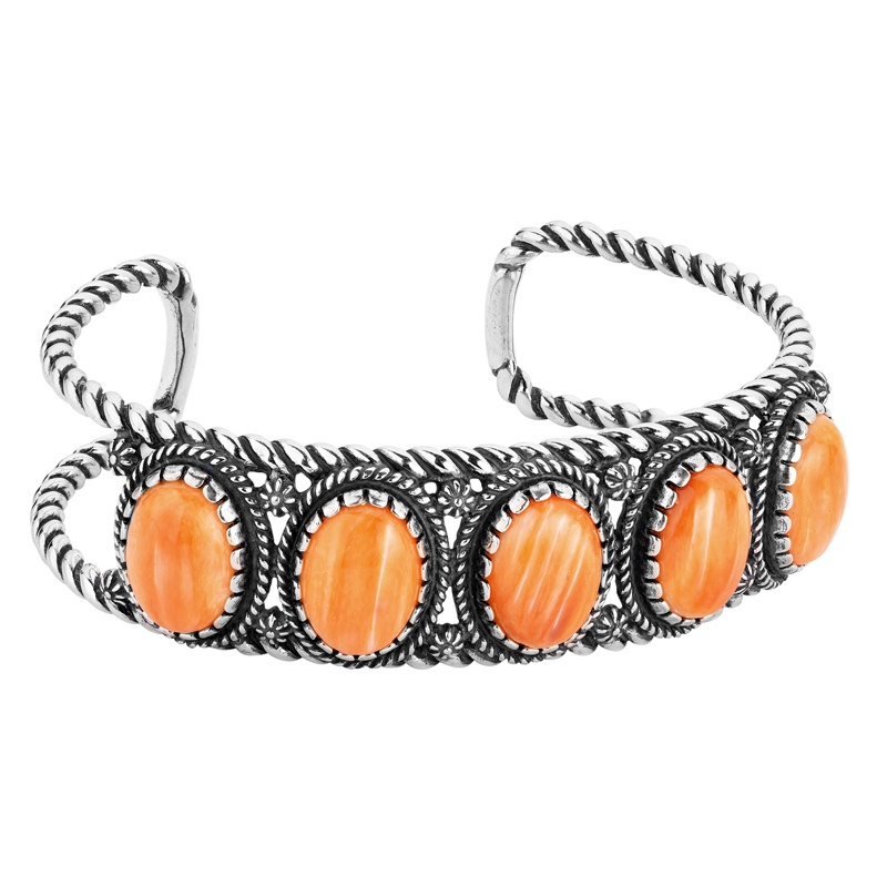 Sterling Silver Orange Spiny Oyster Gemstone 5-Stone Cuff Bracelet Size S, M or L
