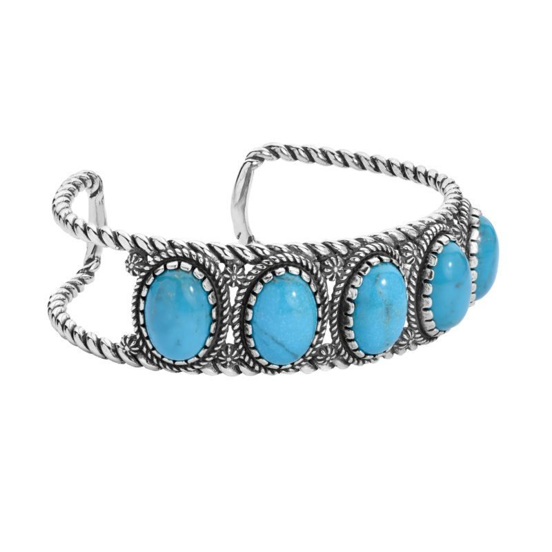 Sterling Silver Blue Turquoise Gemstone 5-Stone Cuff Bracelet Size S, M or L