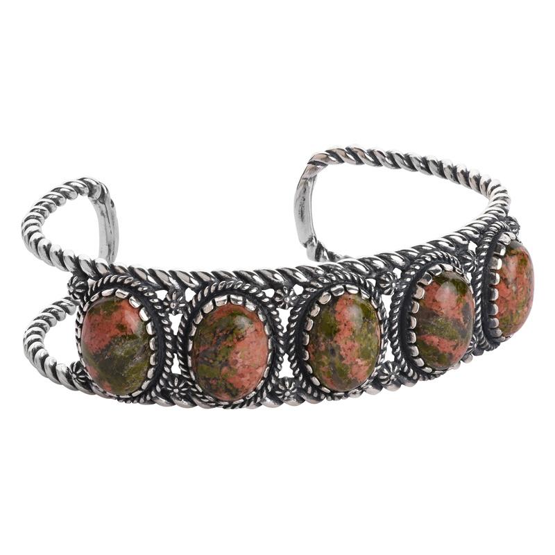 Sterling Silver Green/Pink Unakite Gemstone 5-Stone Cuff Bracelet Size S, M or L
