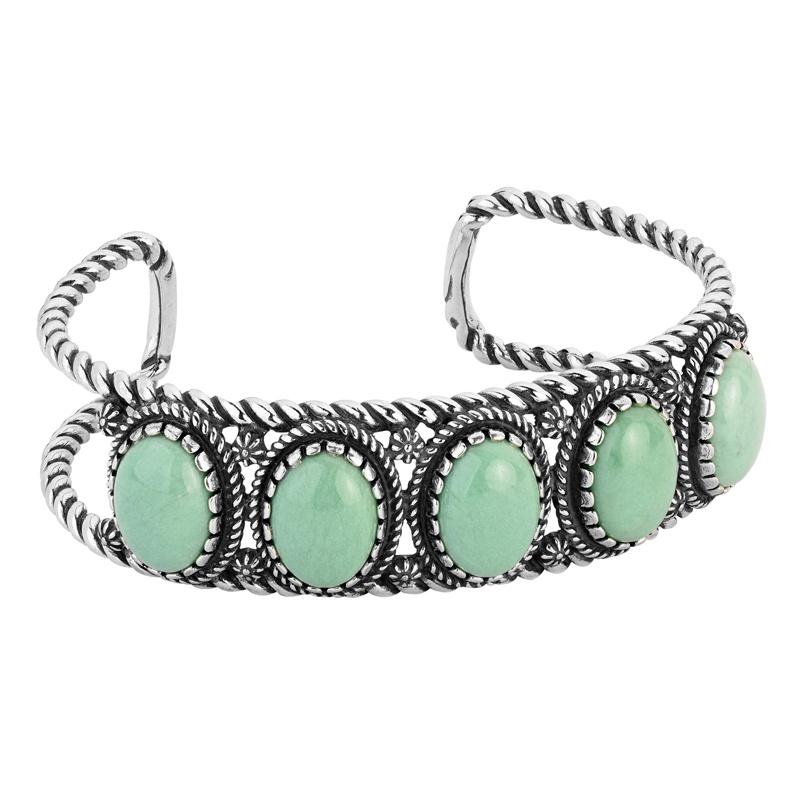 Sterling Silver Green Variscite Gemstone 5-Stone Cuff Bracelet Size S, M or L