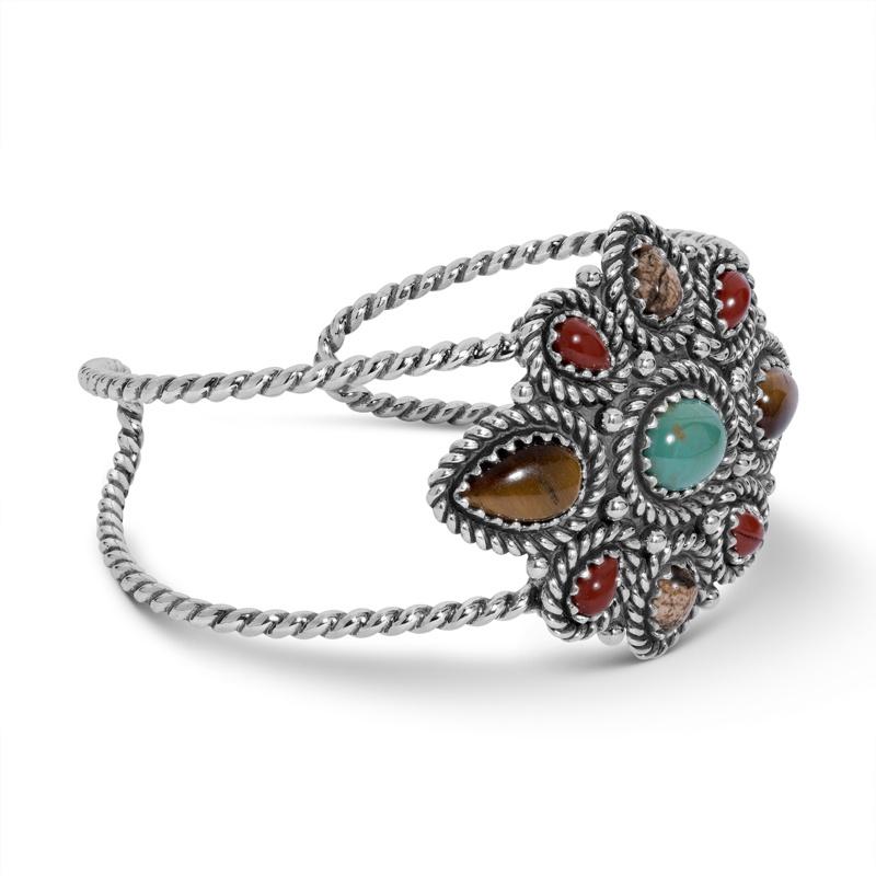 Earth Spirit Sterling Silver and Mulit Gemstone Cuff Bracelet