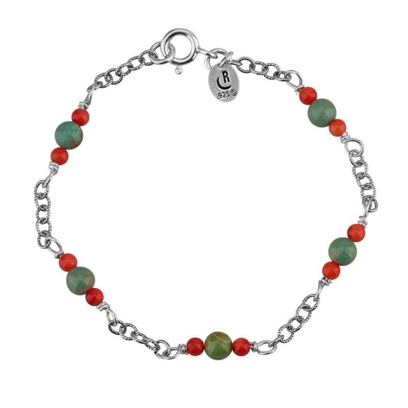 Green Turquoise And Coral Chain Bracelet