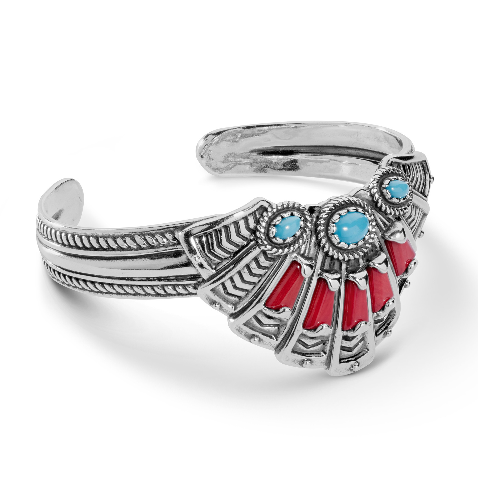 Classics Sterling Silver, Red Coral, and Turquoise Cuff Bracelet