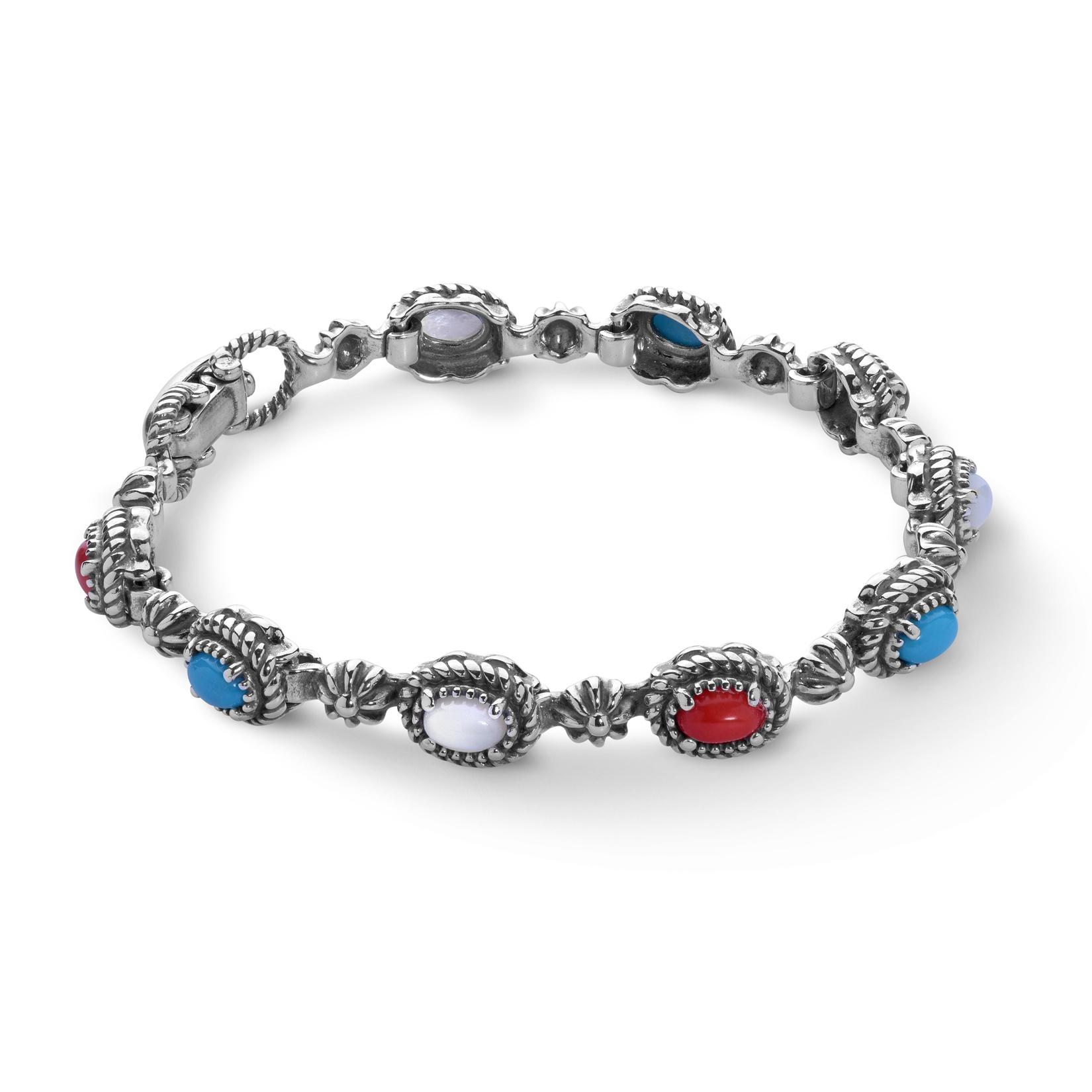 Sterling Silver and Multi-Gemstone Tennis Bracelet